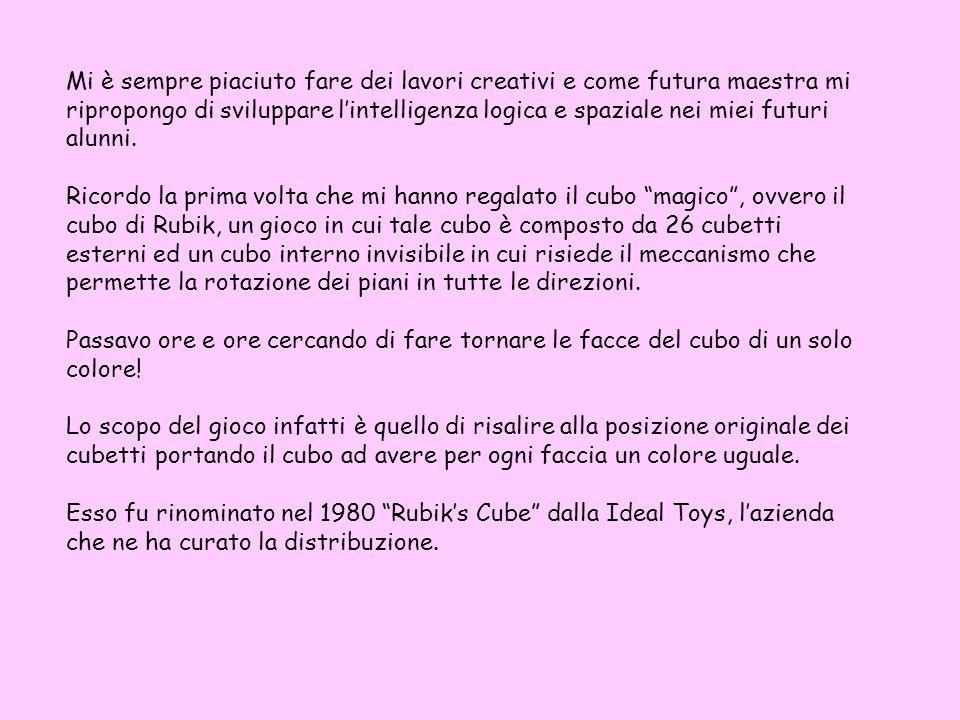 Mi è sempre piaciuto fare dei lavori creativi e come futura maestra mi ripropongo di sviluppare l'intelligenza logica e spaziale nei miei futuri alunni.