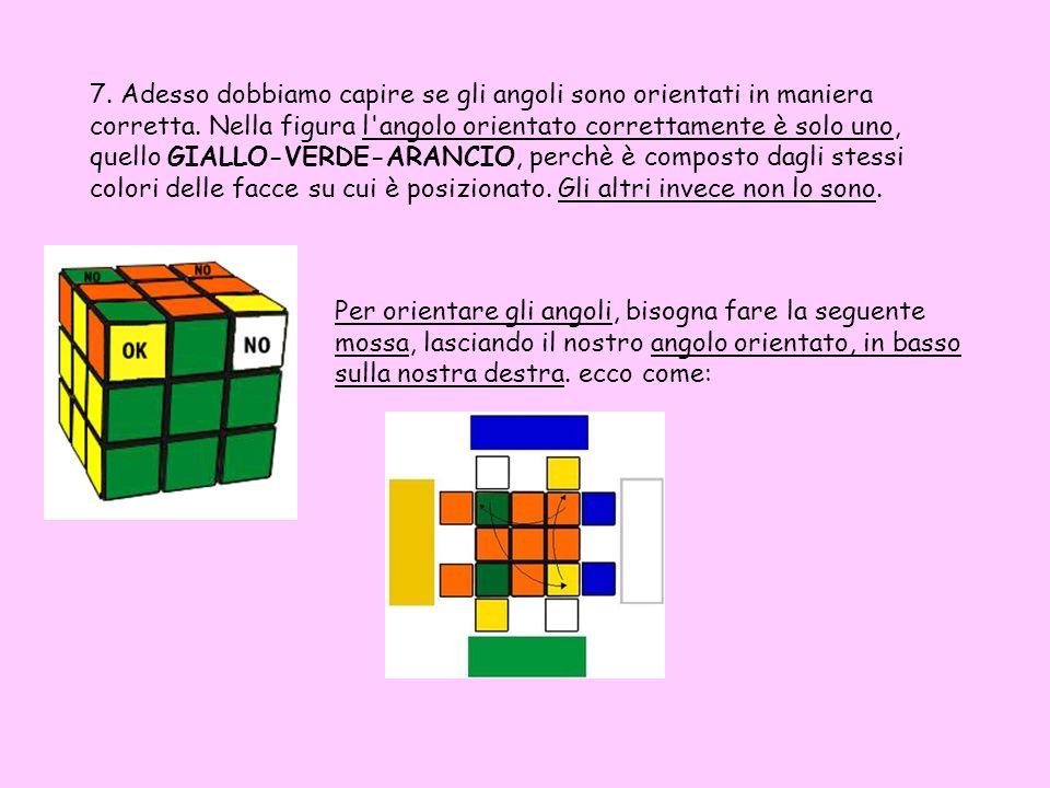 7. Adesso dobbiamo capire se gli angoli sono orientati in maniera corretta. Nella figura l angolo orientato correttamente è solo uno, quello GIALLO-VERDE-ARANCIO, perchè è composto dagli stessi colori delle facce su cui è posizionato. Gli altri invece non lo sono.