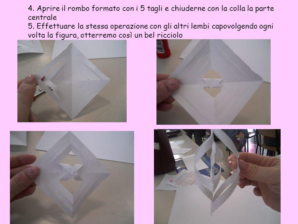 4. Aprire il rombo formato con i 5 tagli e chiuderne con la colla la parte centrale 5.