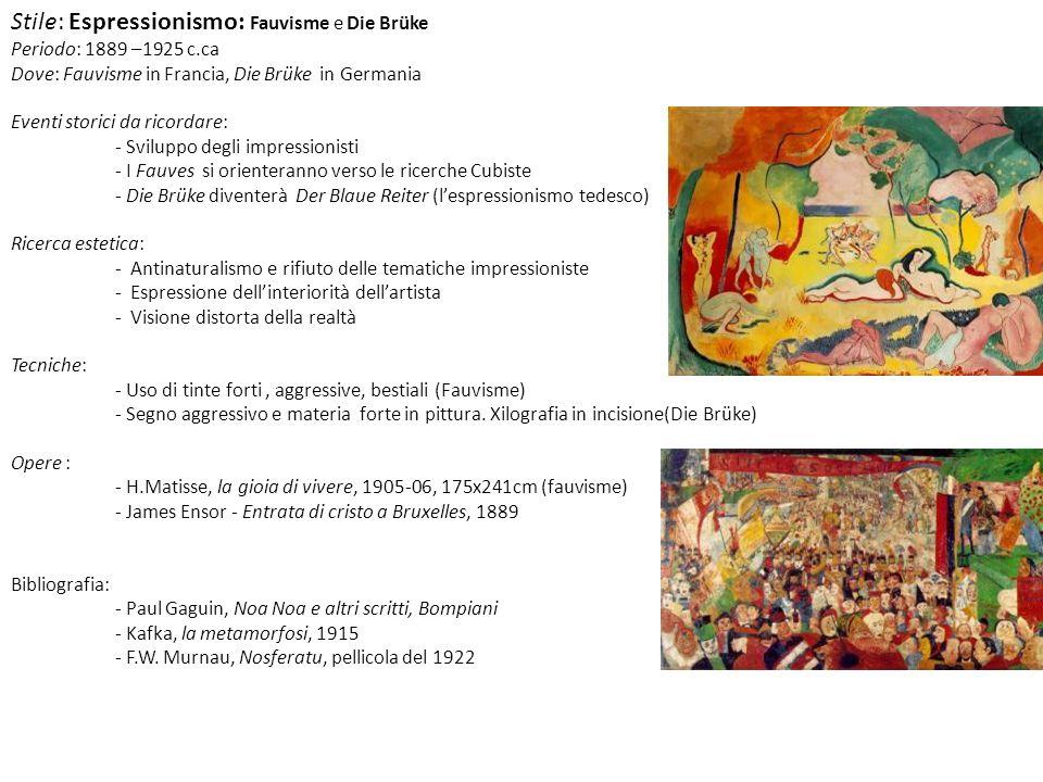 Stile: Espressionismo: Fauvisme e Die Brüke