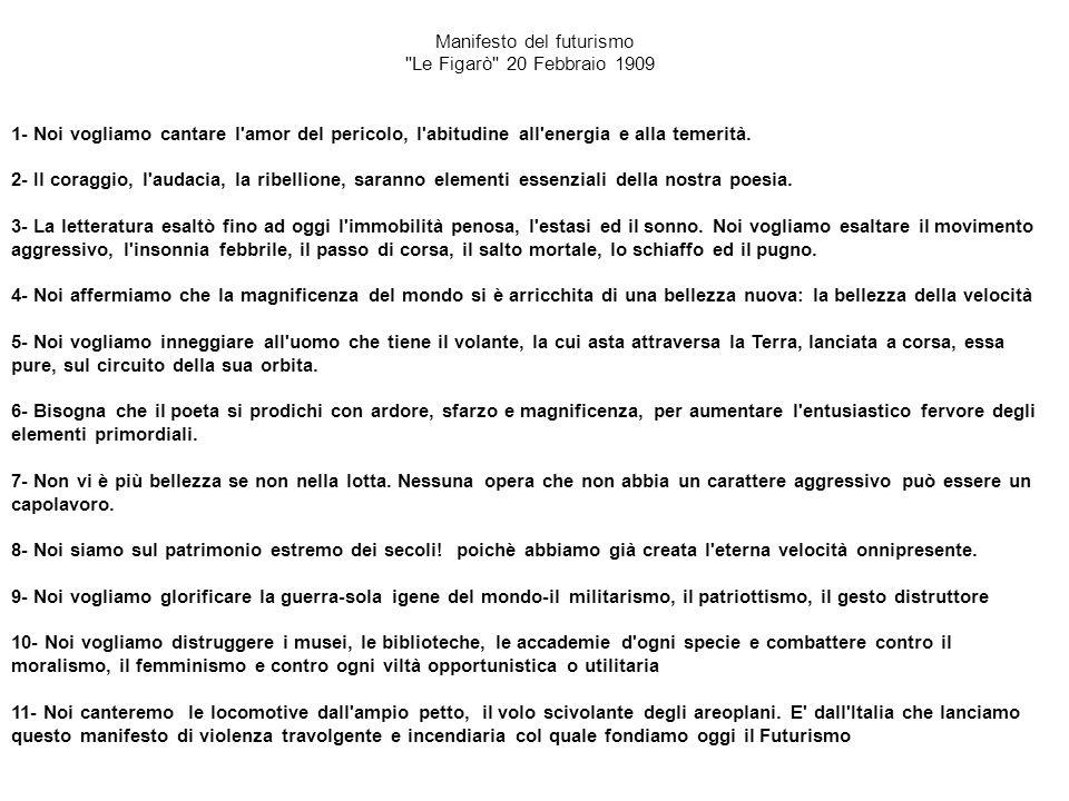 Manifesto del futurismo Le Figarò 20 Febbraio 1909