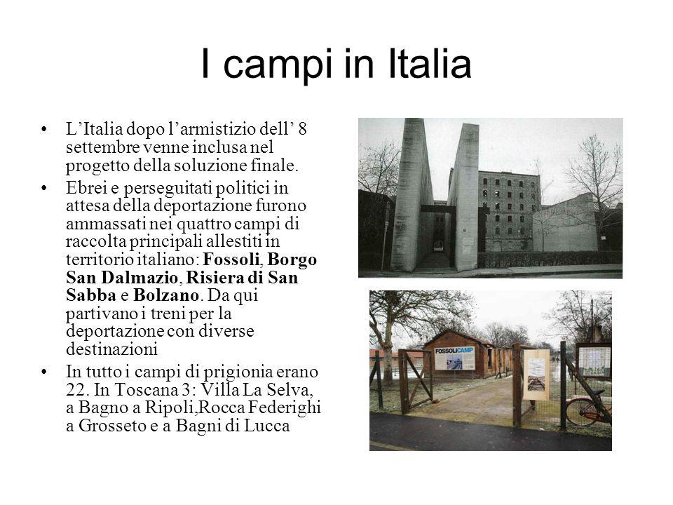 I campi in ItaliaL'Italia dopo l'armistizio dell' 8 settembre venne inclusa nel progetto della soluzione finale.