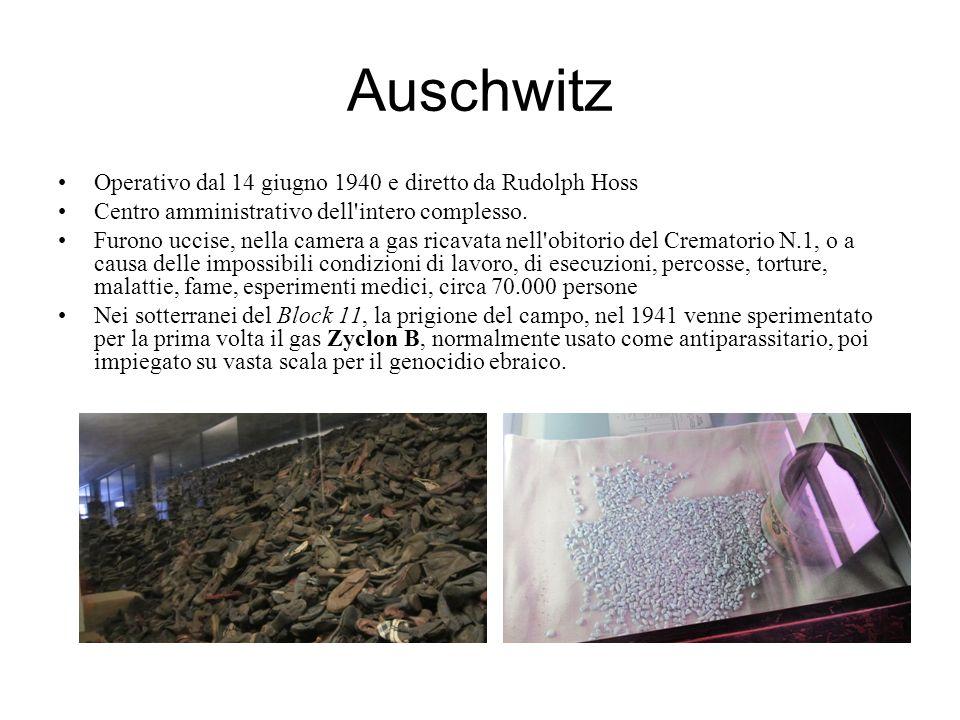 Auschwitz Operativo dal 14 giugno 1940 e diretto da Rudolph Hoss