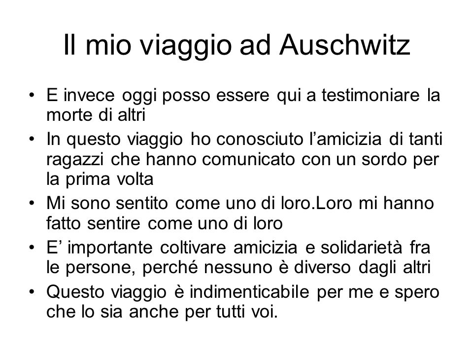 Il mio viaggio ad Auschwitz