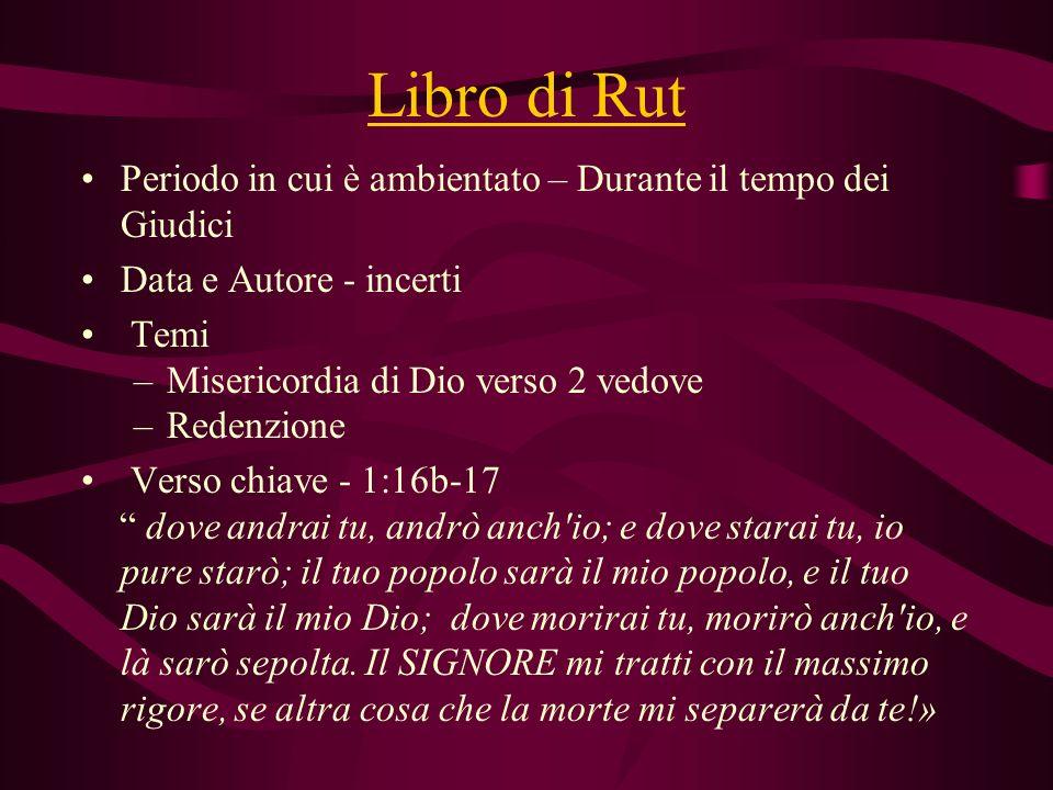 Libro di Rut Periodo in cui è ambientato – Durante il tempo dei Giudici. Data e Autore - incerti. Temi.