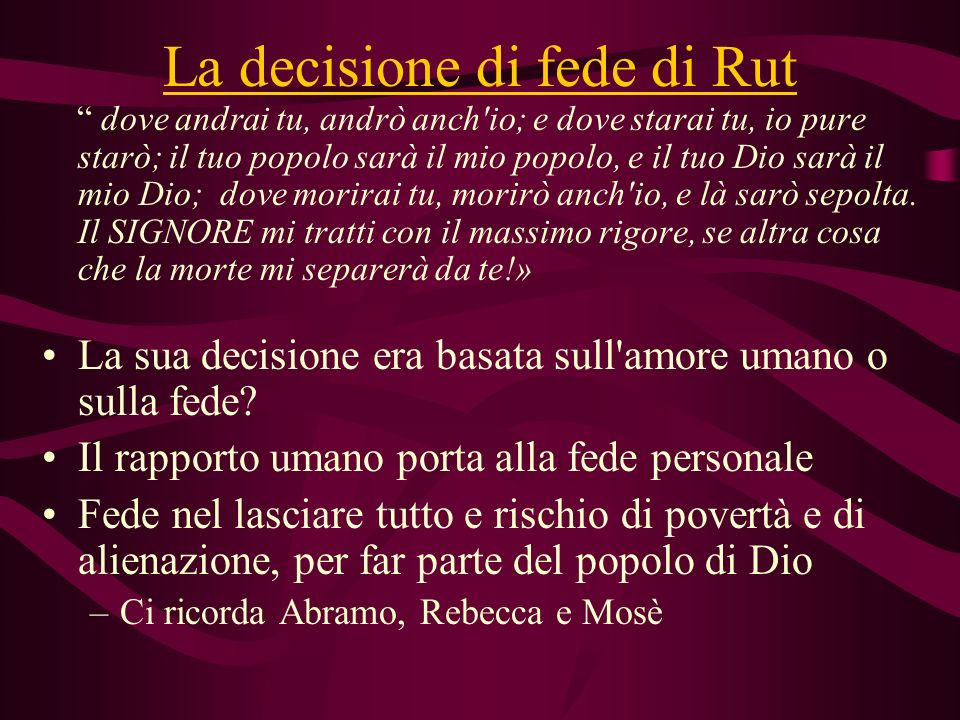 La decisione di fede di Rut