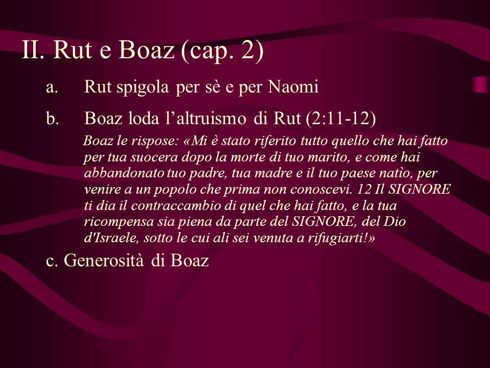 II. Rut e Boaz (cap. 2) Rut spigola per sè e per Naomi