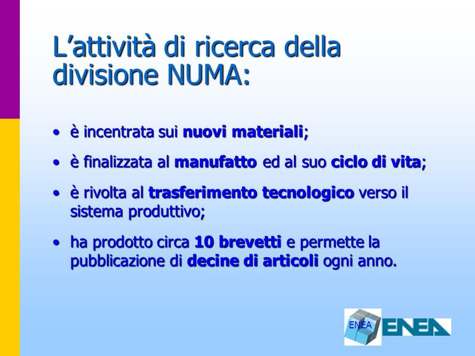 L'attività di ricerca della divisione NUMA: