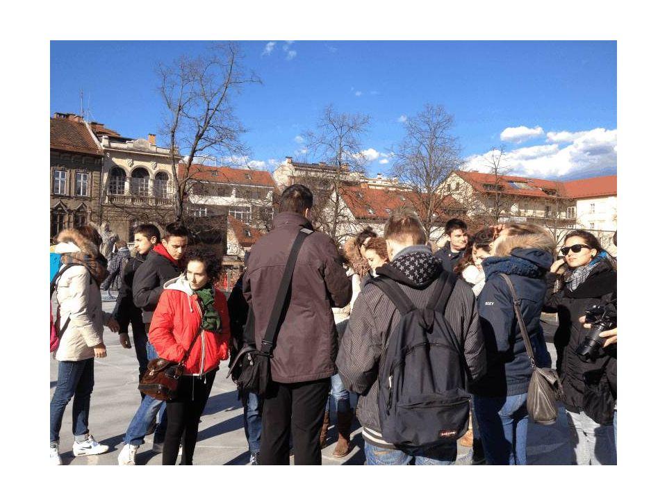 Lubiana: gruppo in visita con la guida di nome Boris