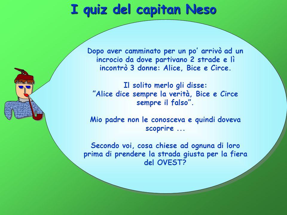 I quiz del capitan Neso Dopo aver camminato per un po' arrivò ad un incrocio da dove partivano 2 strade e lì incontrò 3 donne: Alice, Bice e Circe.