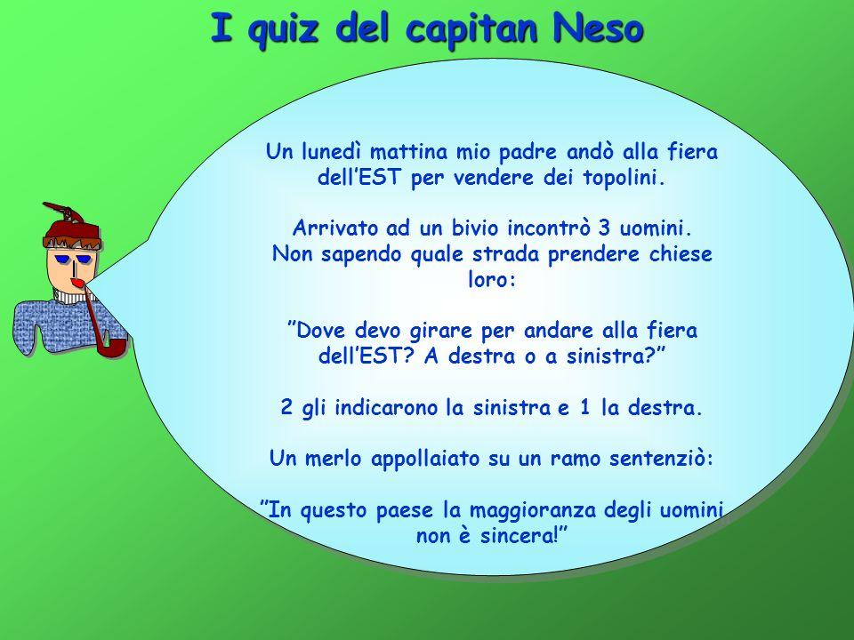 I quiz del capitan Neso Un lunedì mattina mio padre andò alla fiera dell'EST per vendere dei topolini.
