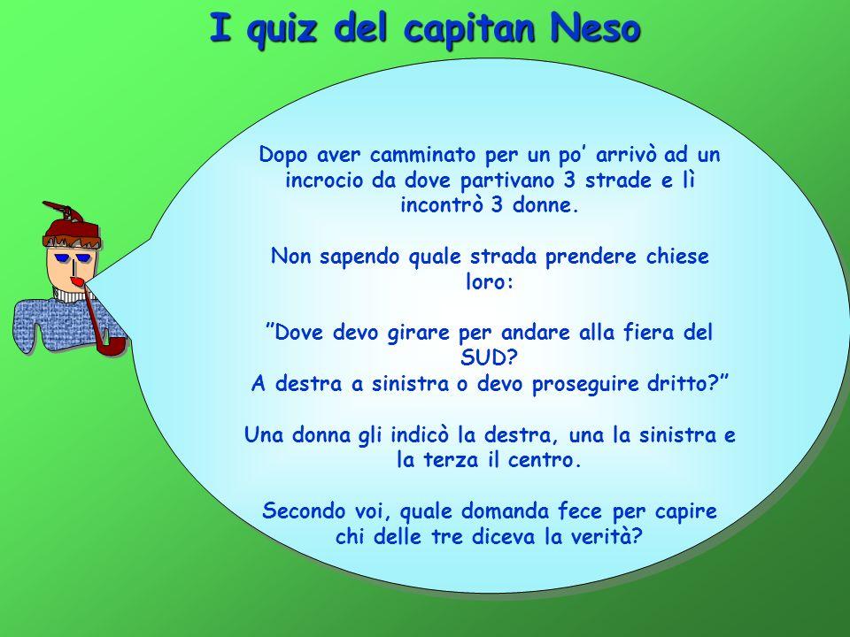I quiz del capitan Neso Dopo aver camminato per un po' arrivò ad un incrocio da dove partivano 3 strade e lì incontrò 3 donne.