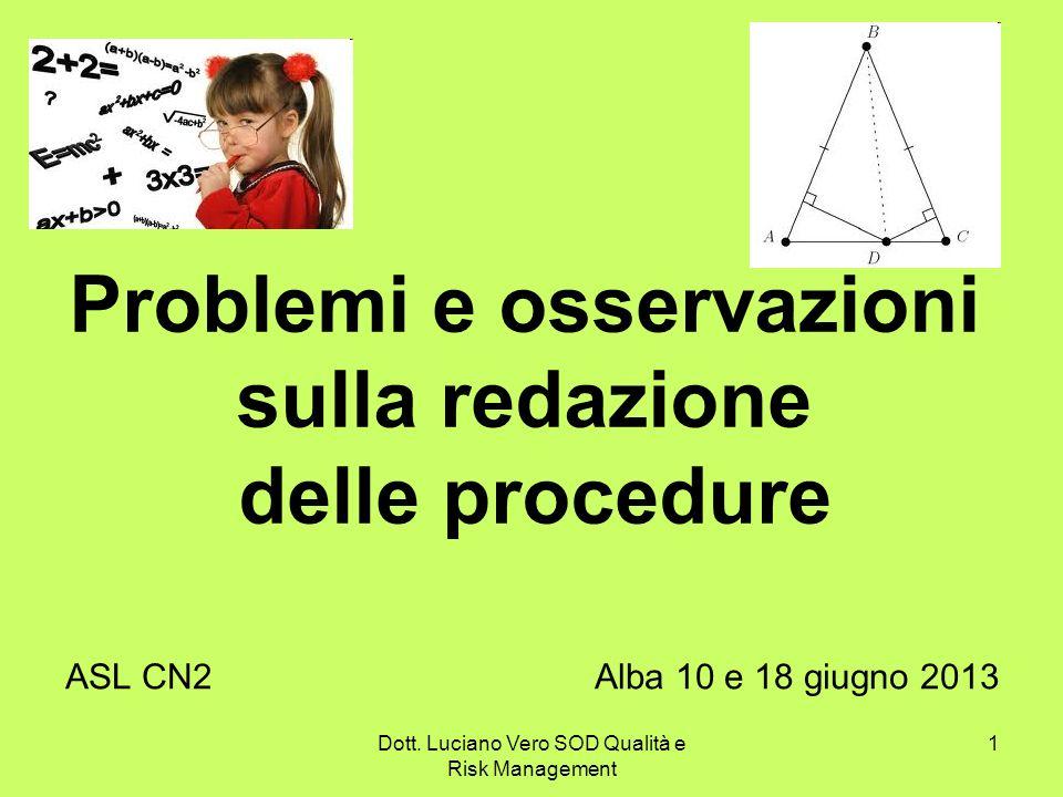 Problemi e osservazioni sulla redazione delle procedure