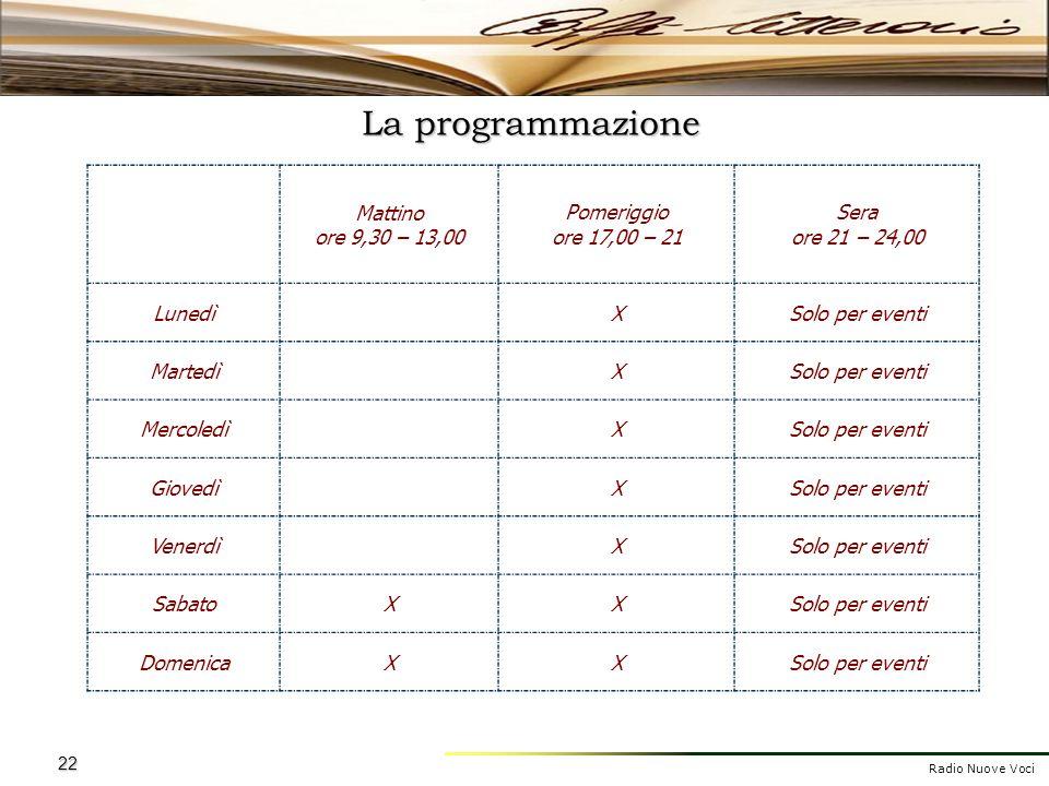 La programmazione Mattino ore 9,30 – 13,00 Pomeriggio ore 17,00 – 21
