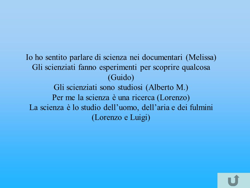 Io ho sentito parlare di scienza nei documentari (Melissa)