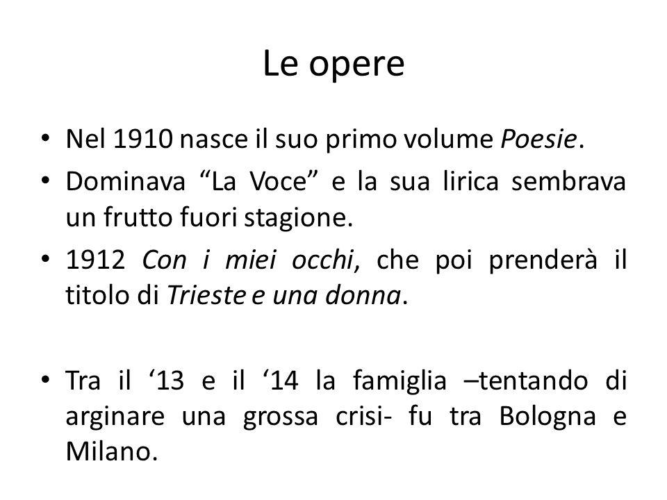 Le opere Nel 1910 nasce il suo primo volume Poesie.