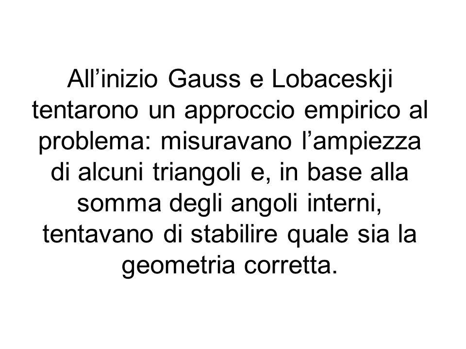 All'inizio Gauss e Lobaceskji tentarono un approccio empirico al problema: misuravano l'ampiezza di alcuni triangoli e, in base alla somma degli angoli interni, tentavano di stabilire quale sia la geometria corretta.