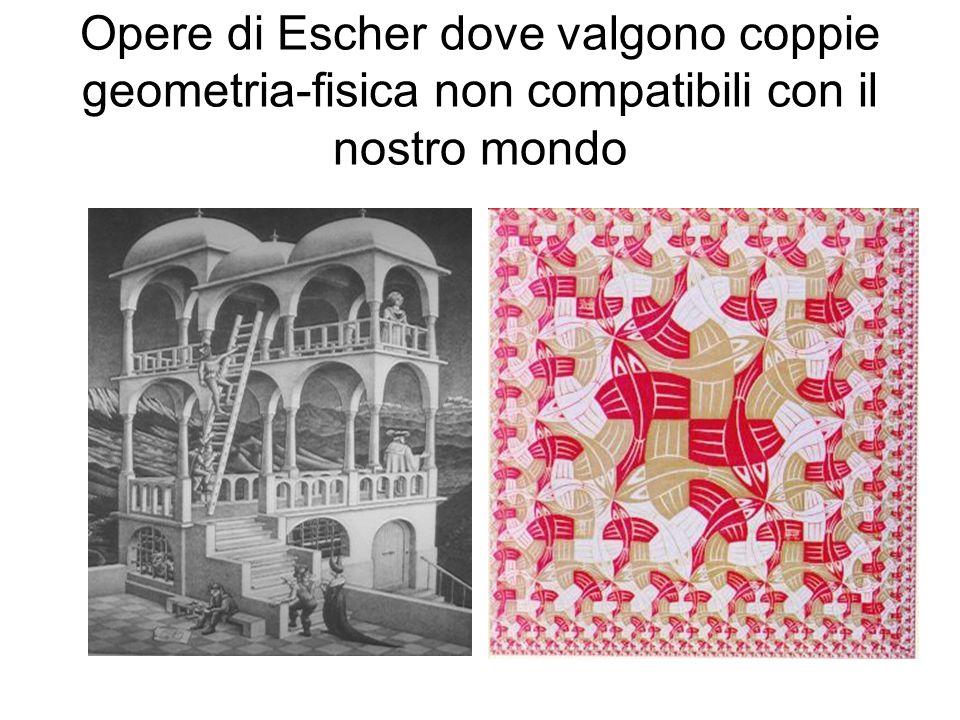 Opere di Escher dove valgono coppie geometria-fisica non compatibili con il nostro mondo
