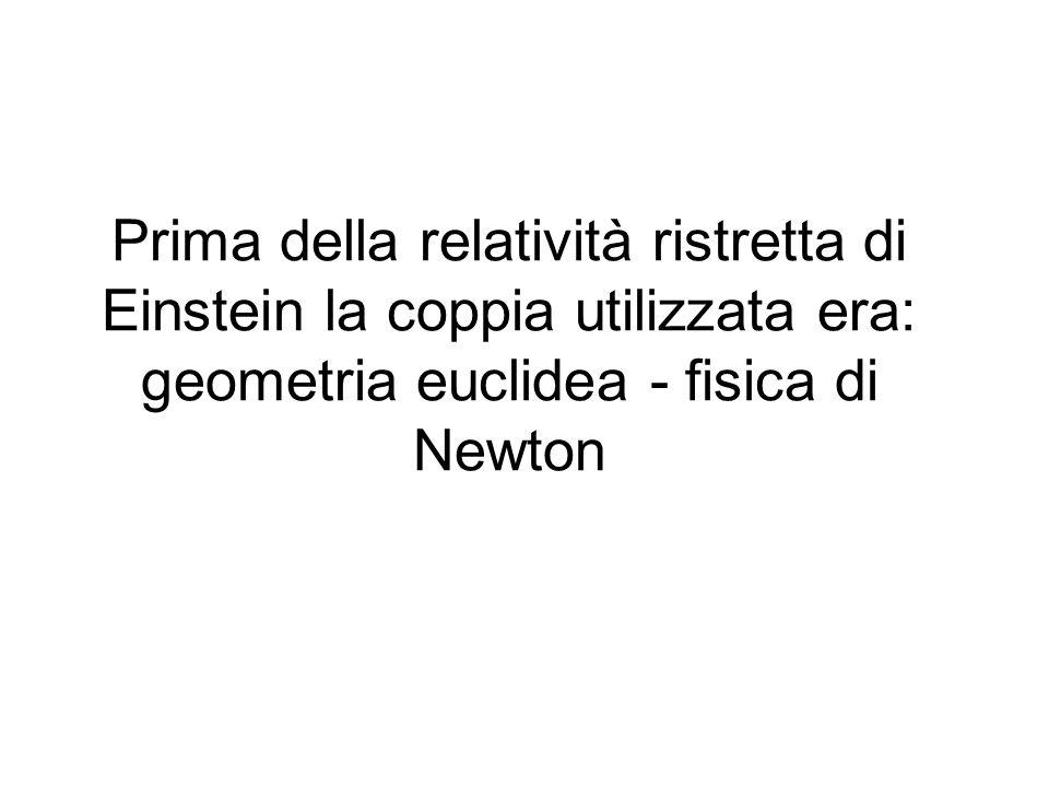 Prima della relatività ristretta di Einstein la coppia utilizzata era: geometria euclidea - fisica di Newton