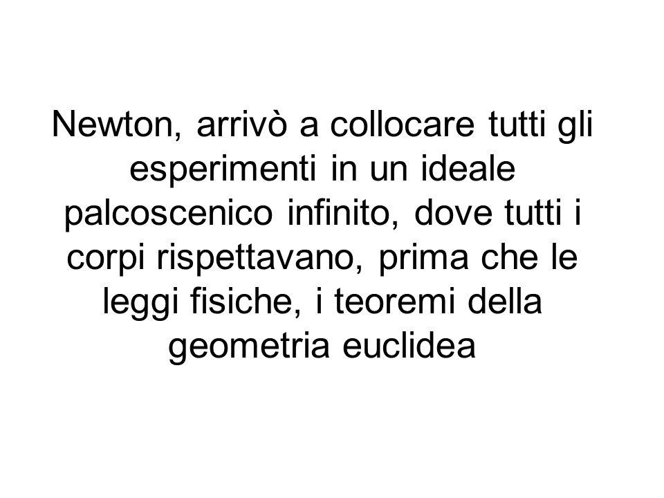 Newton, arrivò a collocare tutti gli esperimenti in un ideale palcoscenico infinito, dove tutti i corpi rispettavano, prima che le leggi fisiche, i teoremi della geometria euclidea