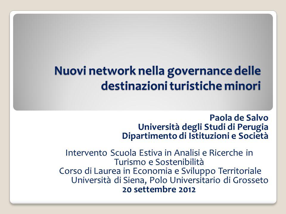 Nuovi network nella governance delle destinazioni turistiche minori