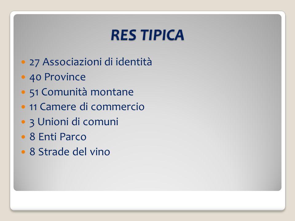 RES TIPICA 27 Associazioni di identità 40 Province 51 Comunità montane