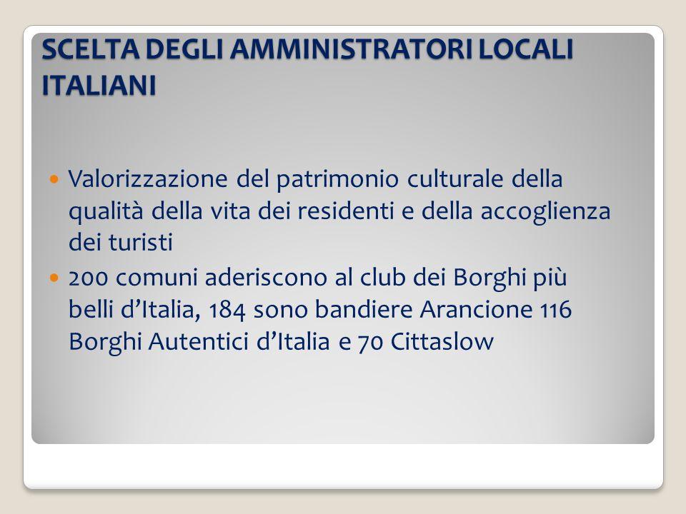 SCELTA DEGLI AMMINISTRATORI LOCALI ITALIANI
