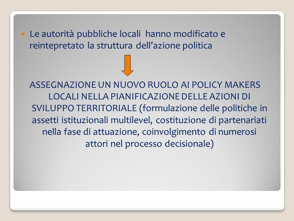 Le autorità pubbliche locali hanno modificato e reintepretato la struttura dell'azione politica