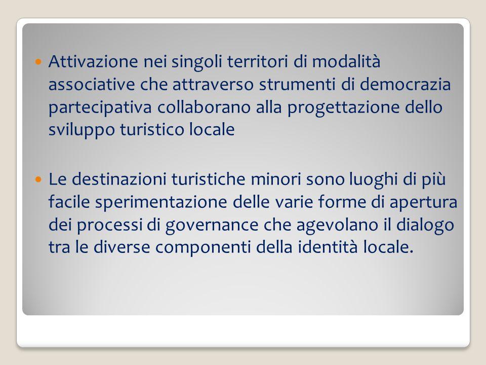 Attivazione nei singoli territori di modalità associative che attraverso strumenti di democrazia partecipativa collaborano alla progettazione dello sviluppo turistico locale