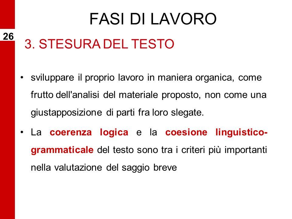 FASI DI LAVORO 3. STESURA DEL TESTO 26