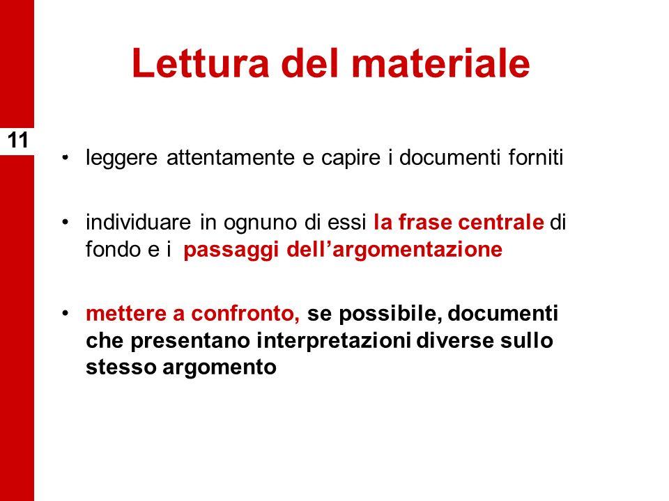 Lettura del materiale leggere attentamente e capire i documenti forniti.