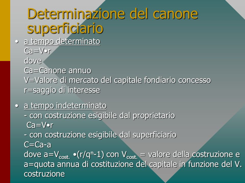 Determinazione del canone superficiario