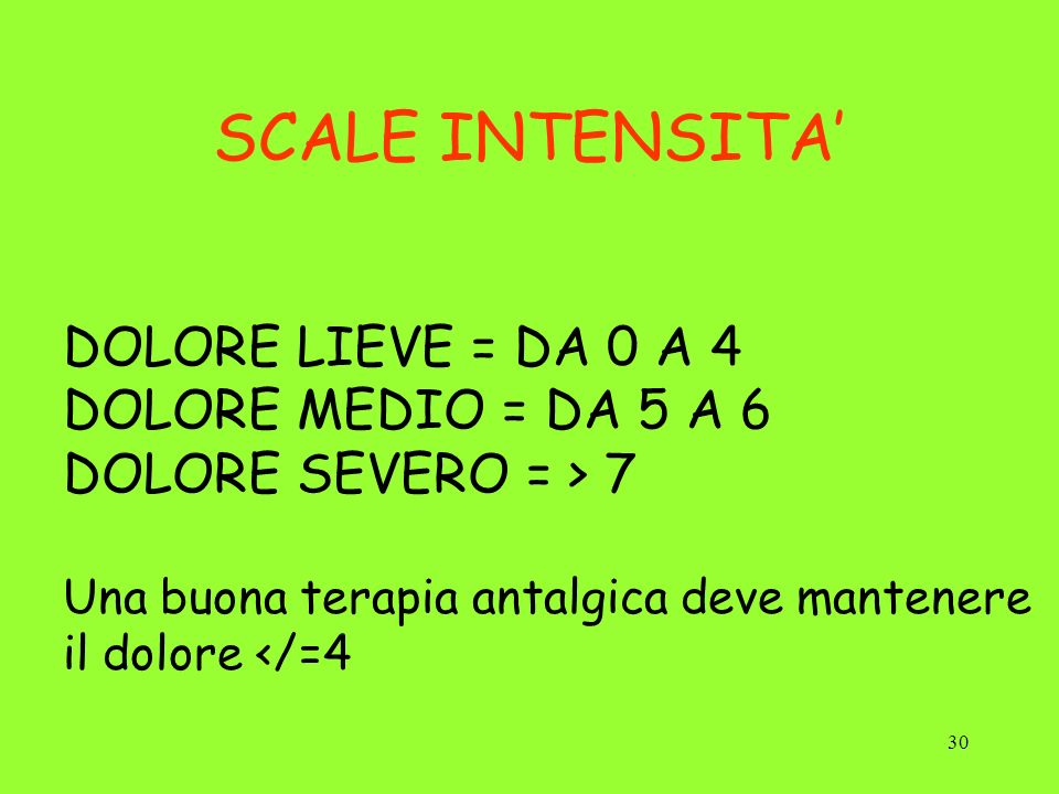SCALE INTENSITA' DOLORE LIEVE = DA 0 A 4 DOLORE MEDIO = DA 5 A 6