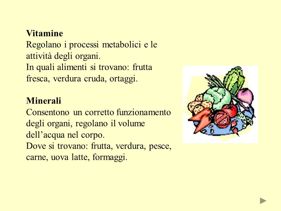 Vitamine Regolano i processi metabolici e le attività degli organi. In quali alimenti si trovano: frutta fresca, verdura cruda, ortaggi.