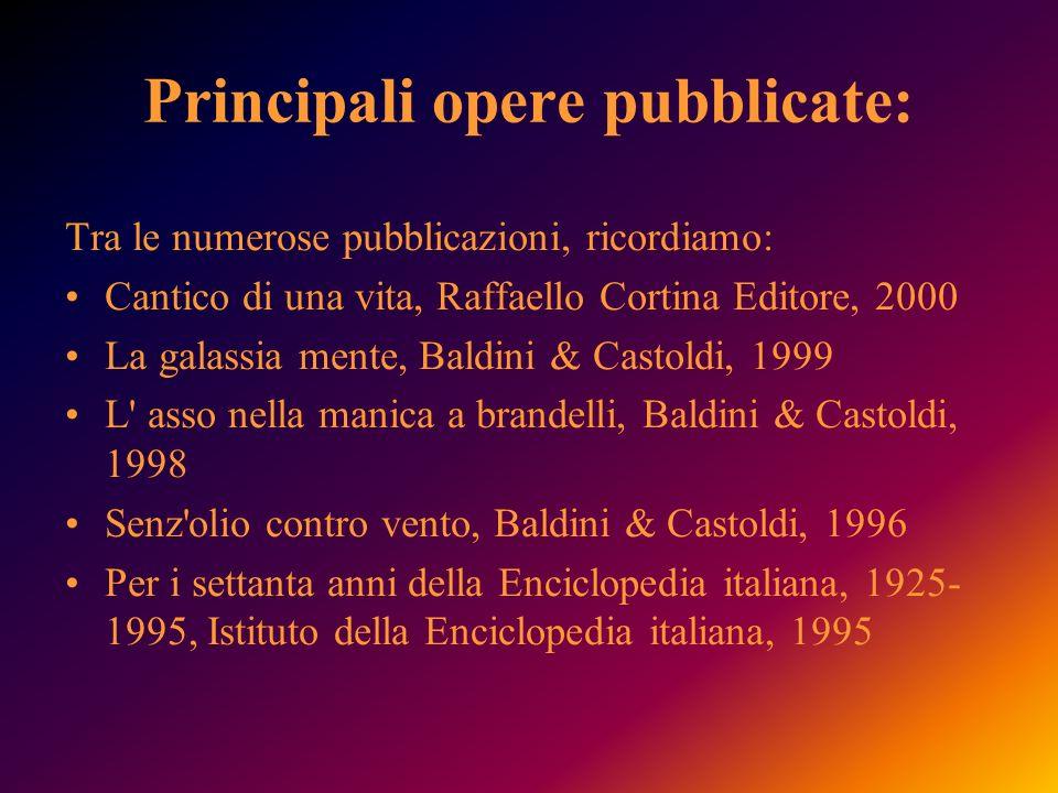 Principali opere pubblicate: