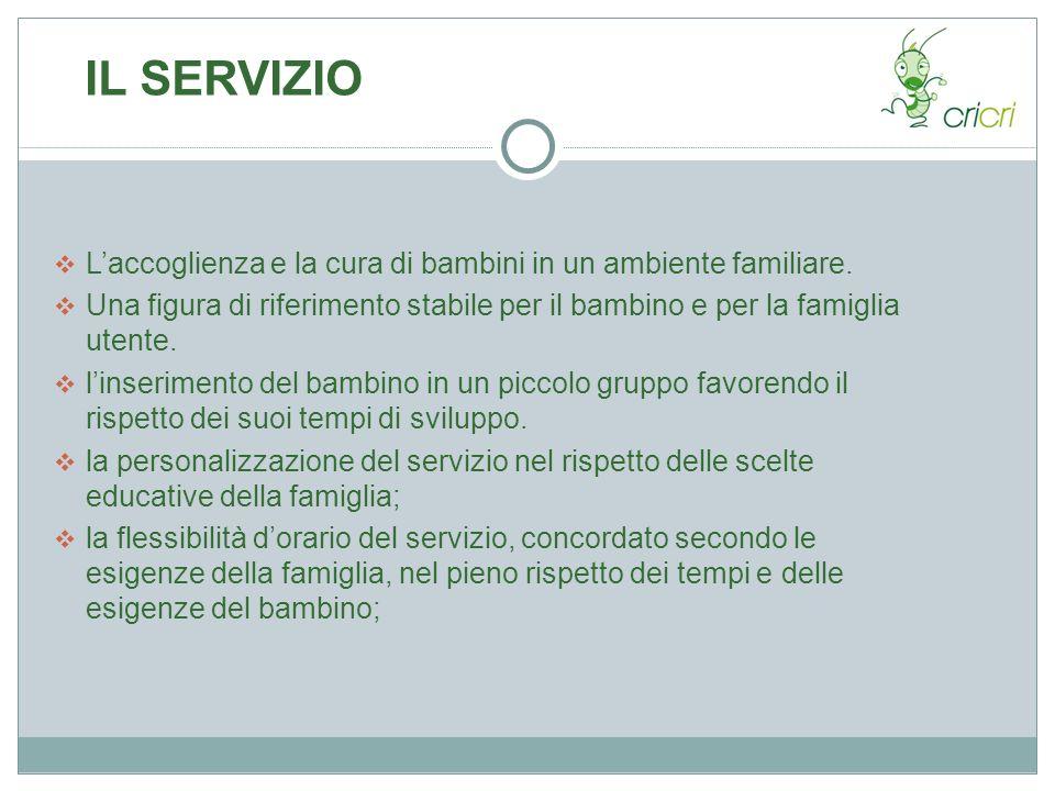 IL SERVIZIO L'accoglienza e la cura di bambini in un ambiente familiare. Una figura di riferimento stabile per il bambino e per la famiglia utente.