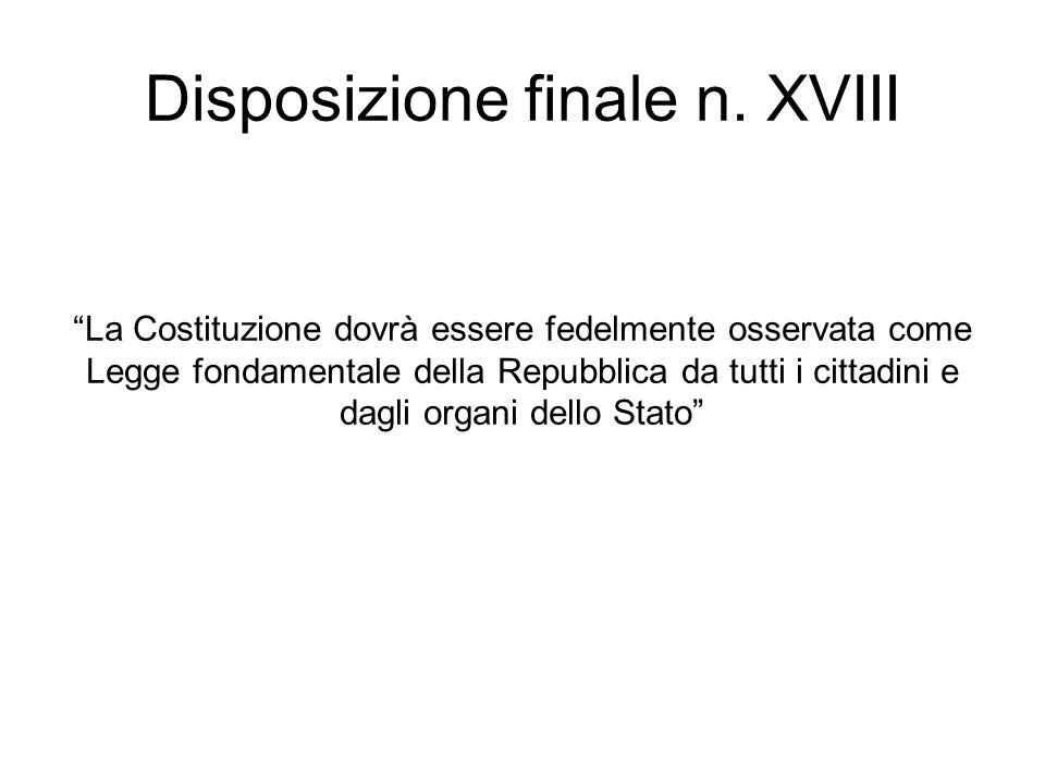 Disposizione finale n. XVIII