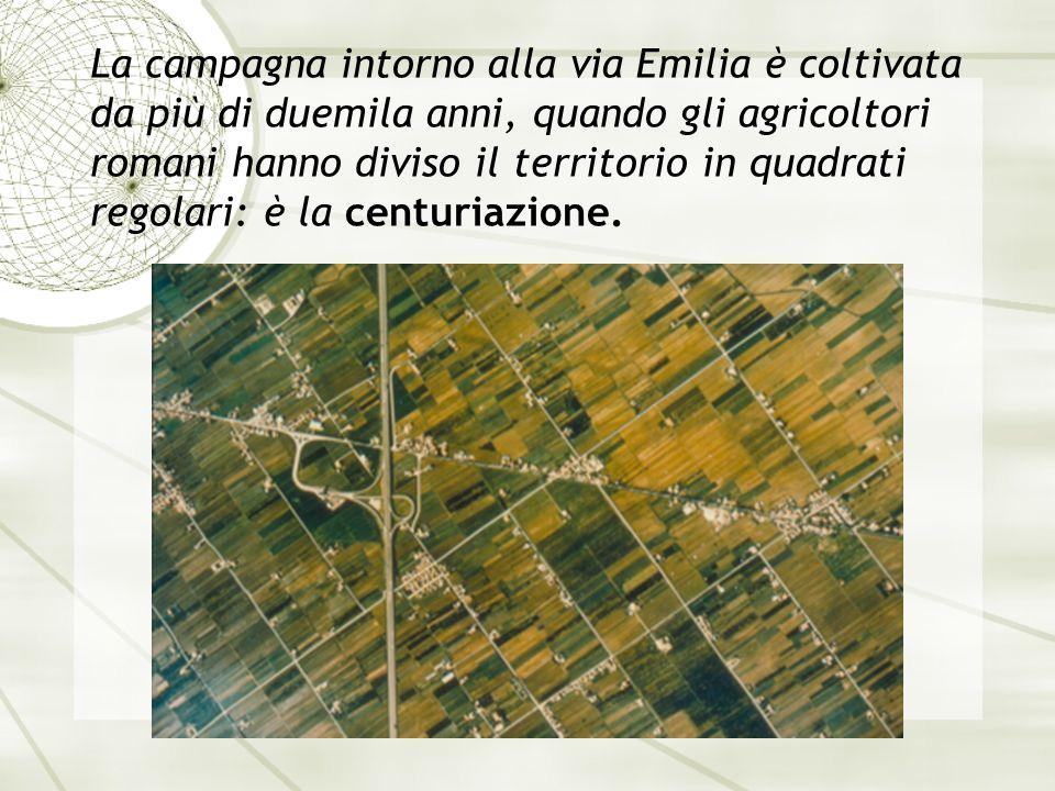 La campagna intorno alla via Emilia è coltivata da più di duemila anni, quando gli agricoltori romani hanno diviso il territorio in quadrati regolari: è la centuriazione.