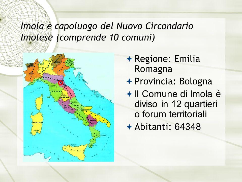 Imola è capoluogo del Nuovo Circondario Imolese (comprende 10 comuni)