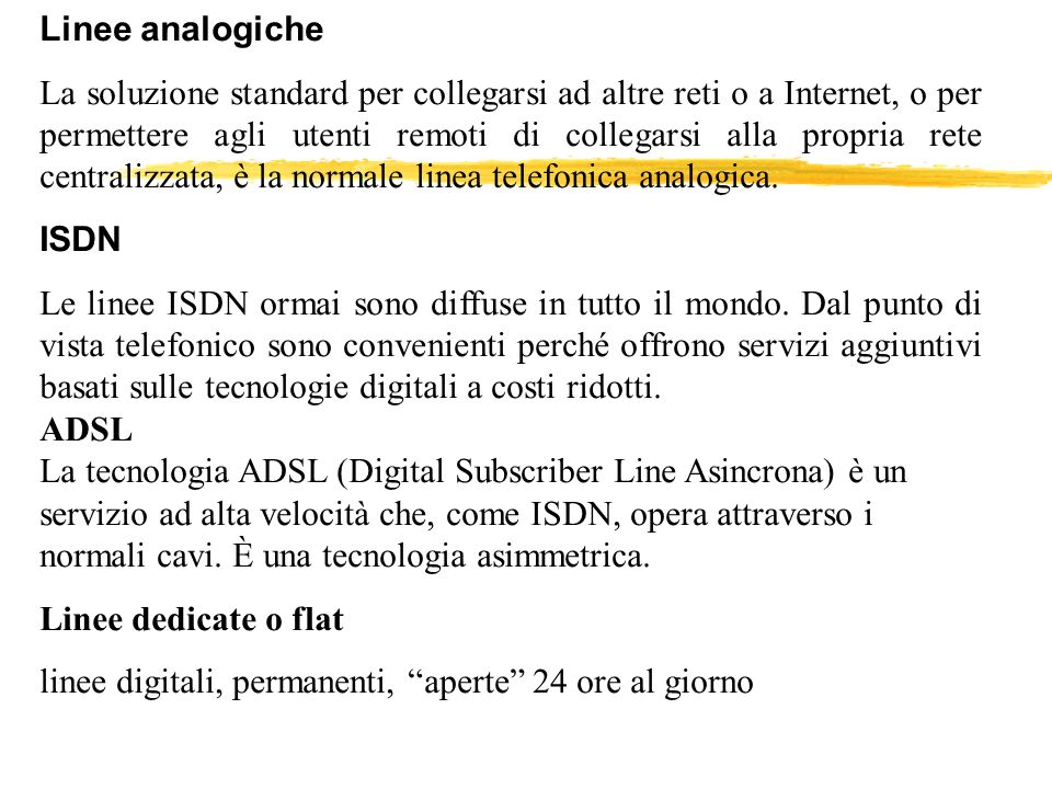Linee analogiche