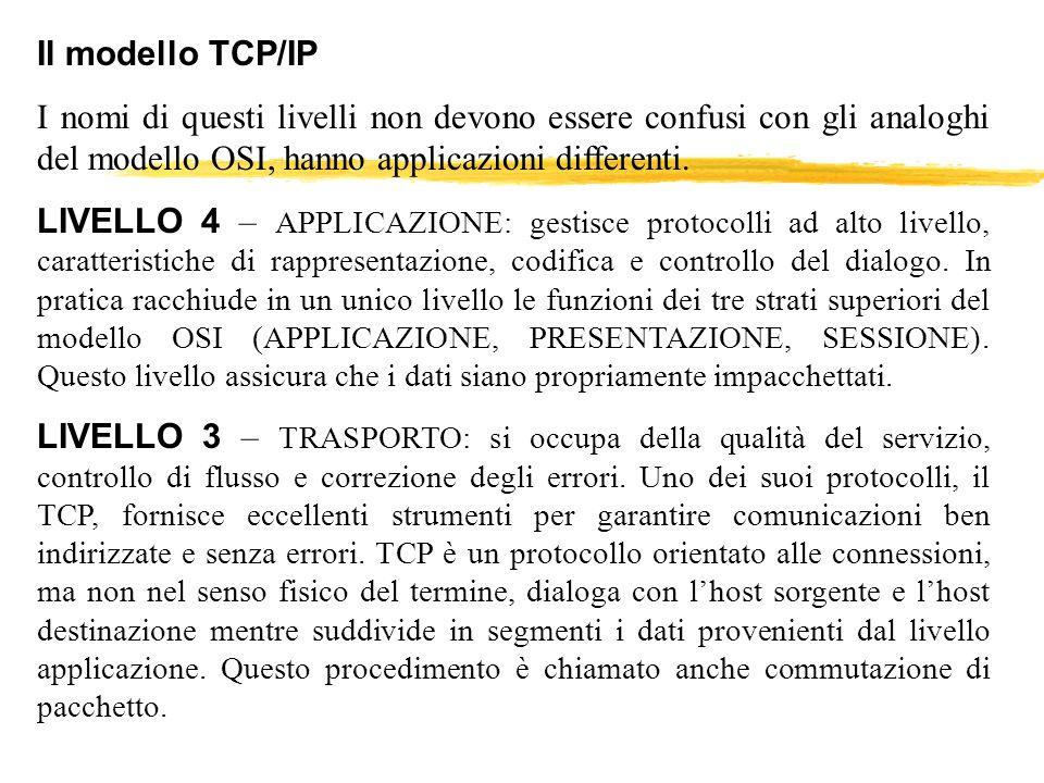 Il modello TCP/IP I nomi di questi livelli non devono essere confusi con gli analoghi del modello OSI, hanno applicazioni differenti.