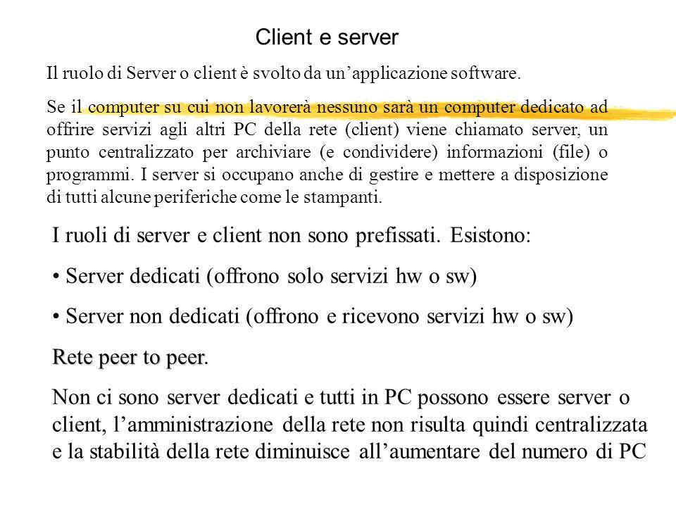 I ruoli di server e client non sono prefissati. Esistono: