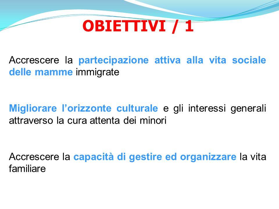 OBIETTIVI / 1 Accrescere la partecipazione attiva alla vita sociale delle mamme immigrate.