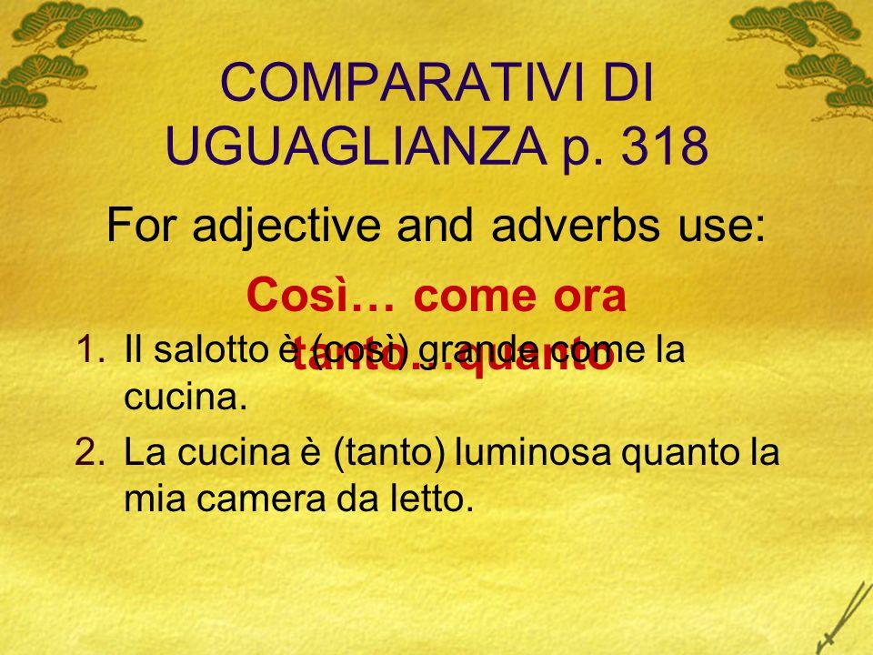 COMPARATIVI DI UGUAGLIANZA p. 318