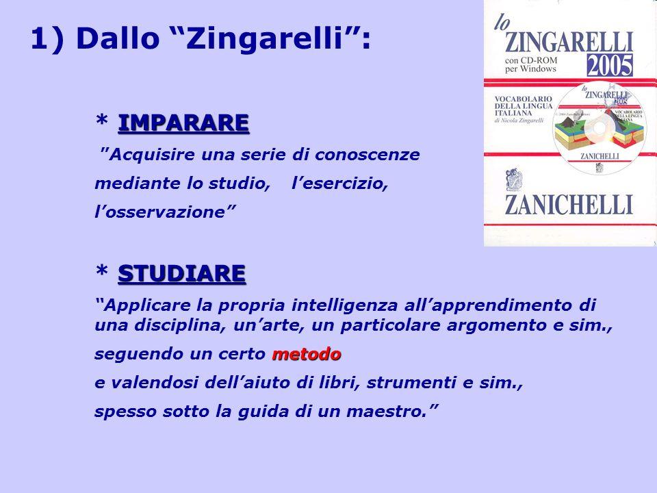 1) Dallo Zingarelli : * IMPARARE * STUDIARE