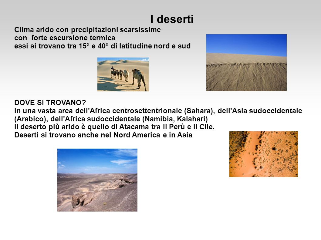 I deserti Clima arido con precipitazioni scarsissime