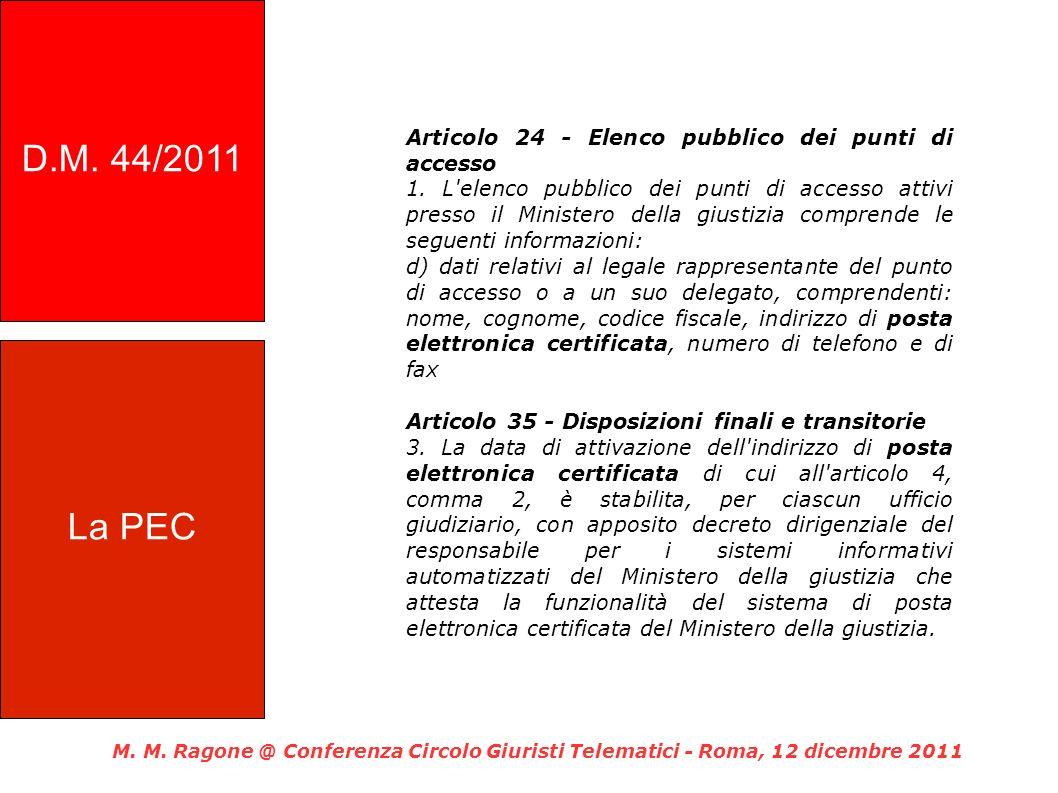 D.M. 44/2011 Articolo 24 - Elenco pubblico dei punti di accesso.