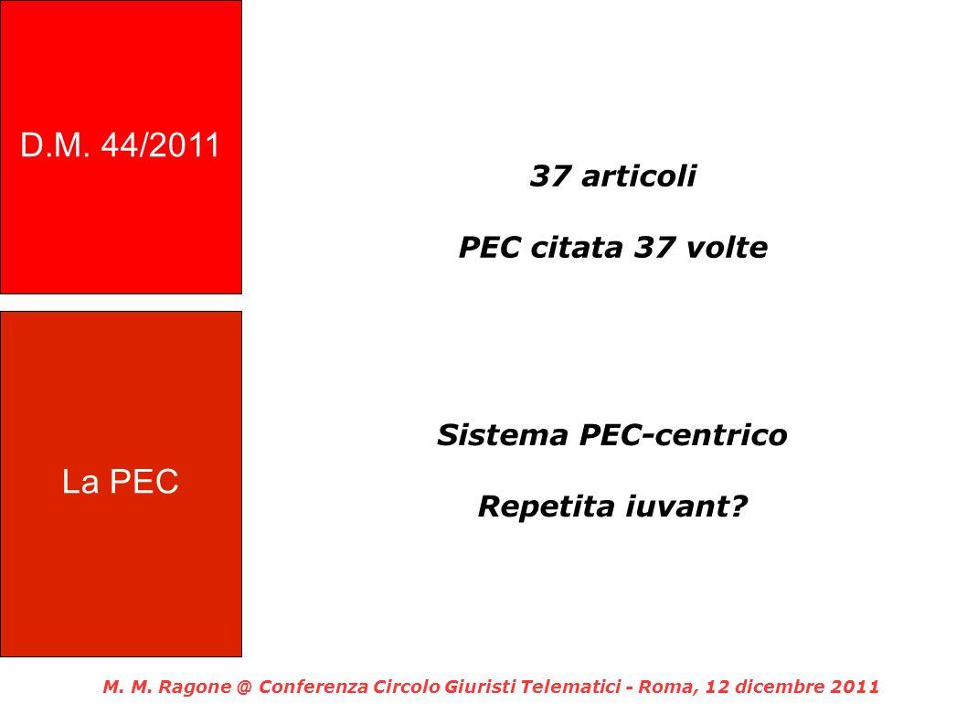 D.M. 44/2011 La PEC 37 articoli PEC citata 37 volte