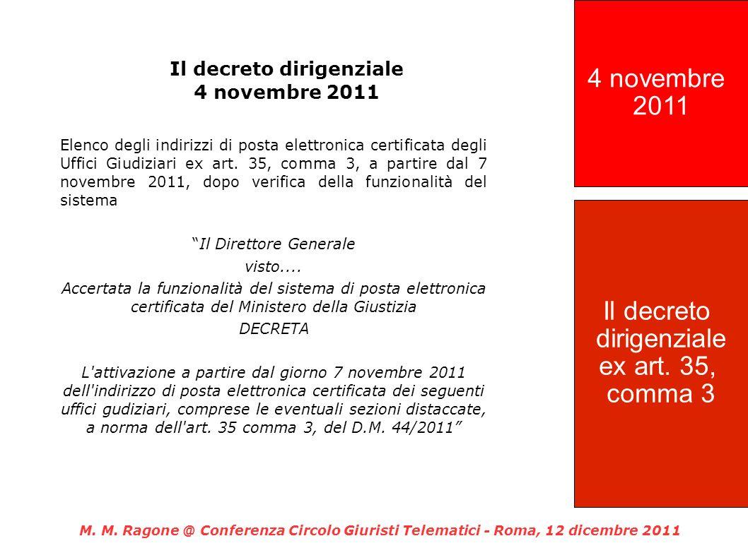 Il decreto dirigenziale 4 novembre 2011