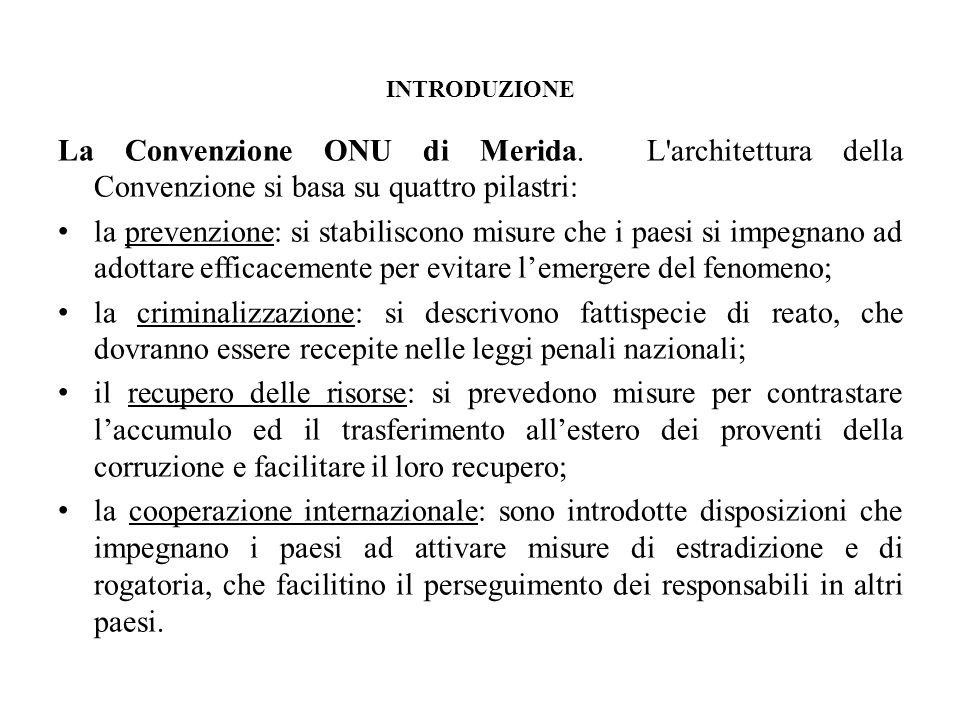 INTRODUZIONE La Convenzione ONU di Merida. L architettura della Convenzione si basa su quattro pilastri: